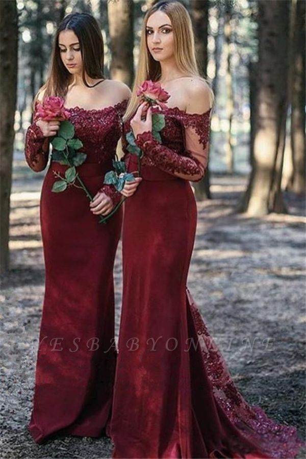 Burgundy Bridesmaid Dresses With Long Sleeves | Off the Shoulder Long Maid of Honor Dresses