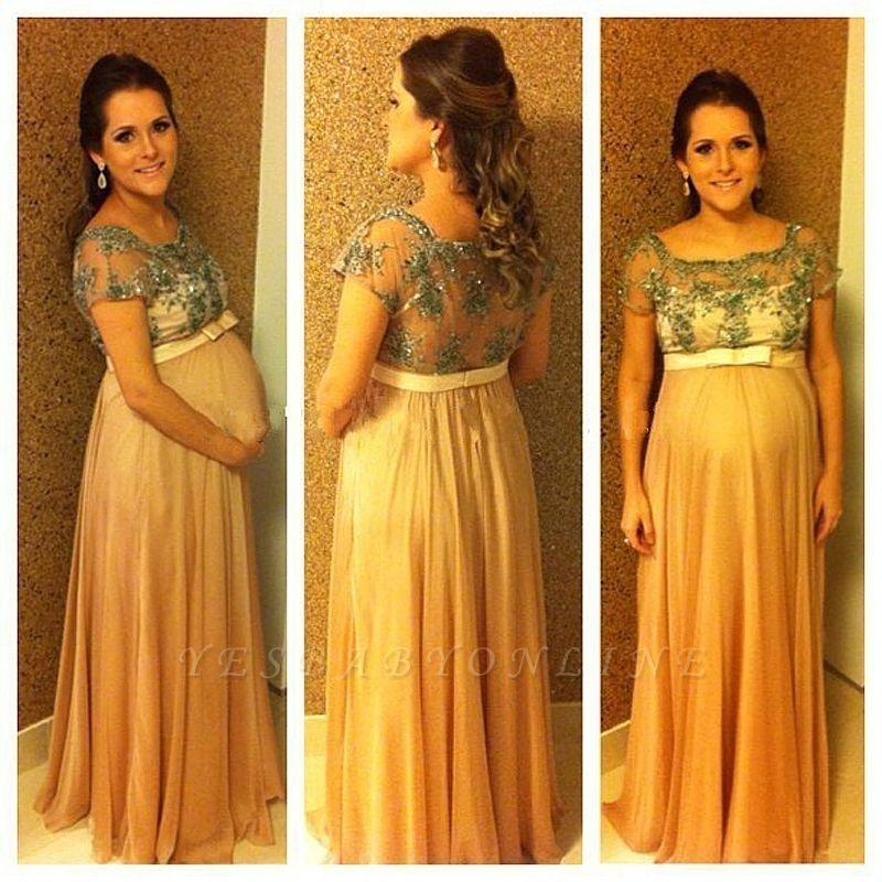 Beading Short-Sleeves Chiffon Bow Ball-Gown Floor-length Pregnant Prom Dress