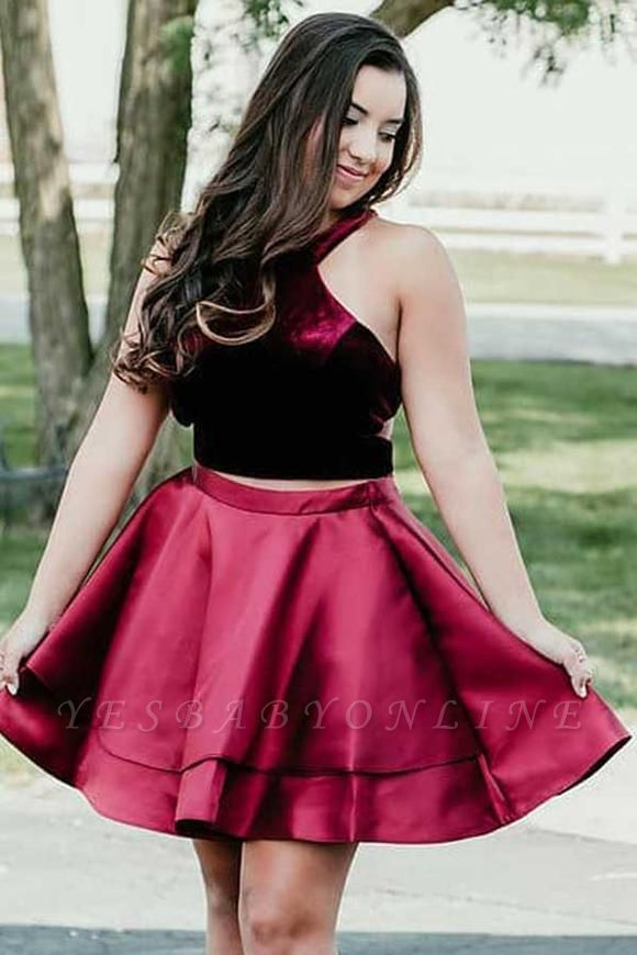 Newest Two Piece Velvet Halter Sleeveless Homecoming Dress   Short Party Gown
