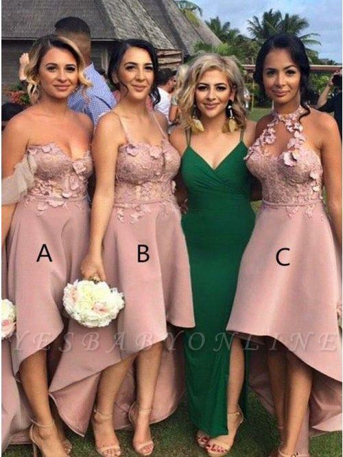 Sexy Sleeveless Bridesmaid Dresses | Appliques Hi-Lo Wedding Guest Dresses