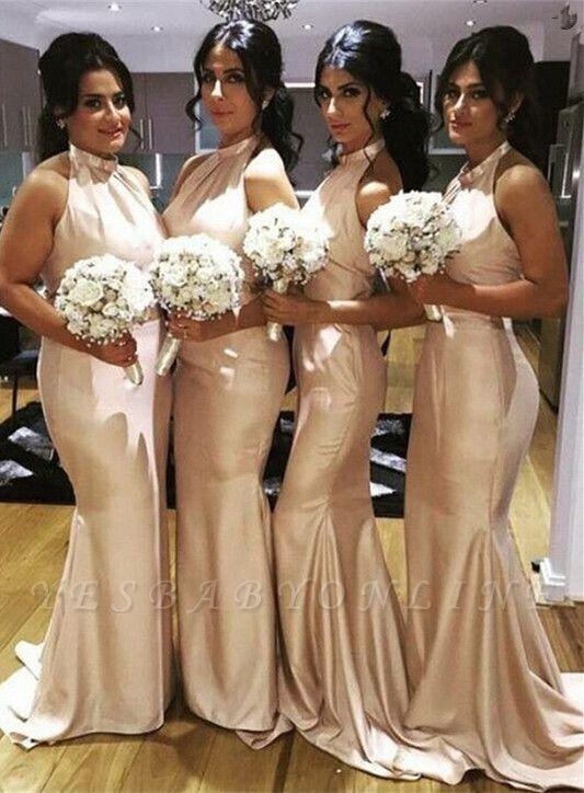 Sweep-Train Halter Newest Mermaid Sleeveless Bridesmaid Dress