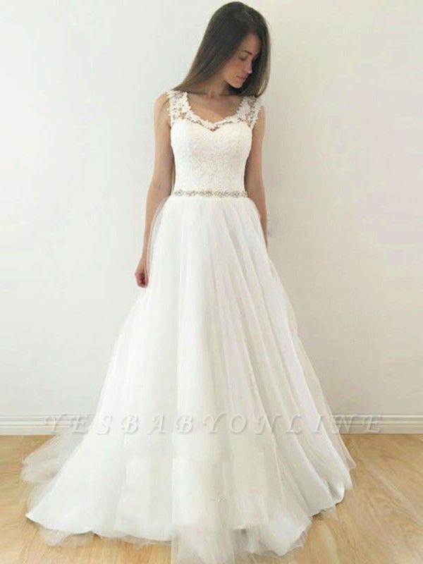 Glamorous A-Line Sleeveless Wedding Dresses | Straps V-Neck Tulle Bridal Gowns