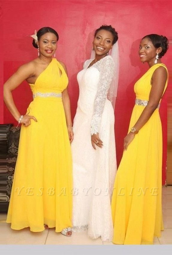 Modern A-line Chiffon Yellow One-Shoulder Beads Bridesmaid Dress