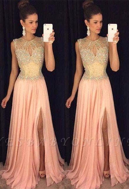 Gorgeous Front-Split Beads A-line Chiffon Sleeveless Prom Dress