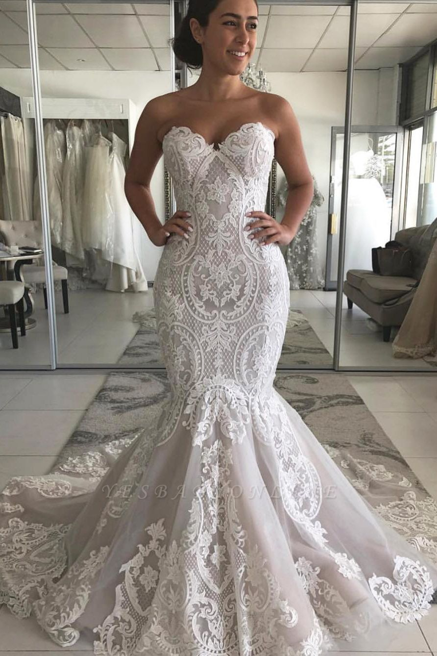 Off the Shoulder Sweetheart Lace Fit and Flare Wedding Dresses