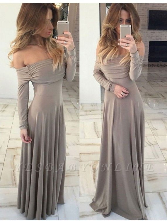 Gorgeous Long-Sleeve Off-the-shoulder Long Green Prom Dress