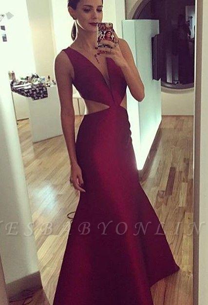 Sheath-Column Floor-length Elegant Sexy Deep-v-neck Sleeveless Prom Dress