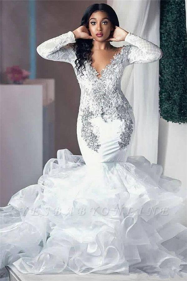 Luxurious Deep V Neck Long Sleeve Applique Ruffles Mermaid Wedding Dresses