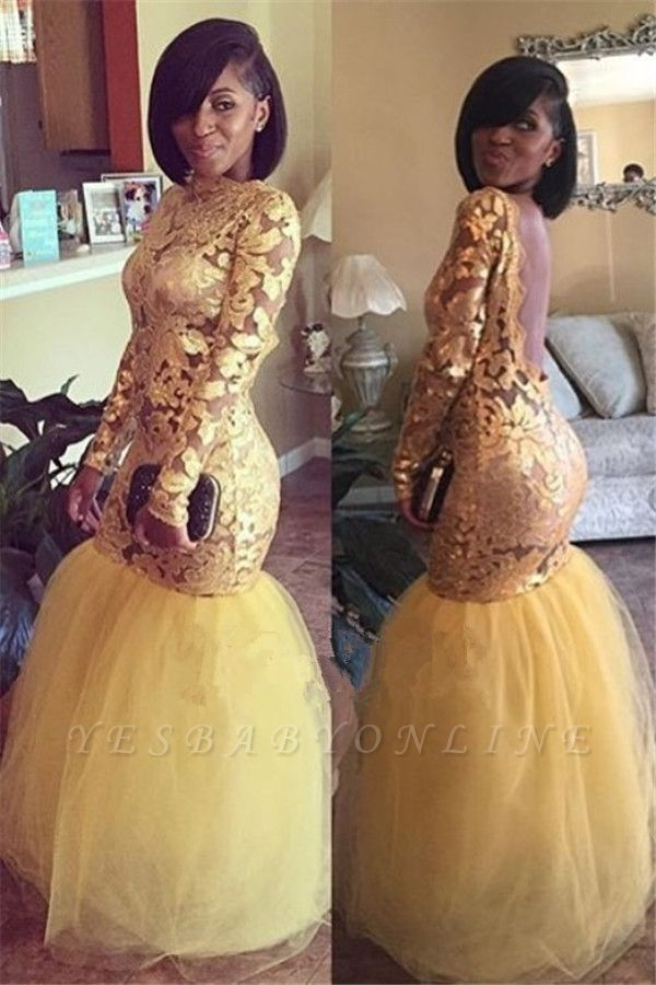 Long Sleeves Backless Prom Dresses |  Mermaid Lace Evening Gowns