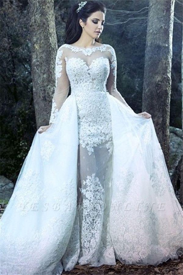 Form Fitting Overskirt Long Sleeves Glitter Lace Wedding Dresses
