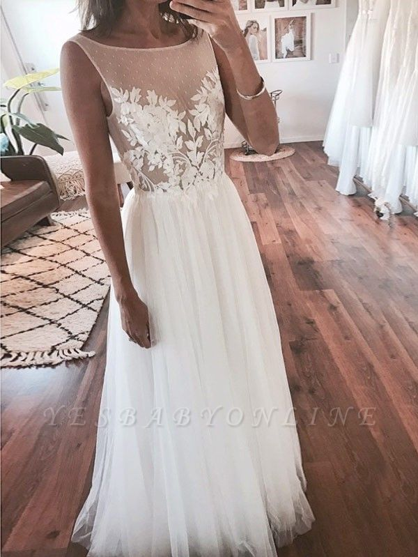 Chic A-Line Sleeveless Wedding Dresses | Scoop Appliques Tulle Bridal Gowns