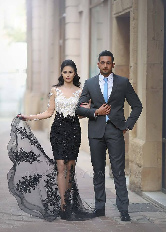 White-Black Long-Sleeves Mermaid Sheer Lace-Appliques Beading Prom Dresses