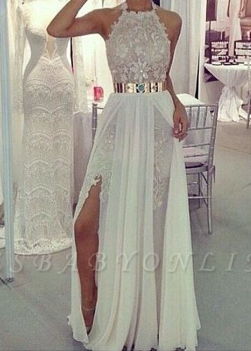Sexy Side Slits Prom Dresses Metal Belt Lace Chiffon Sleeveless A-line Evening Gowns