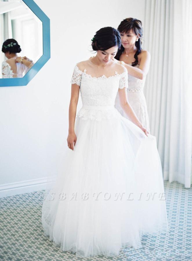 Short-Sleeve Tulle Zipper Floor-Length Princess Classic Lace Wedding Dress