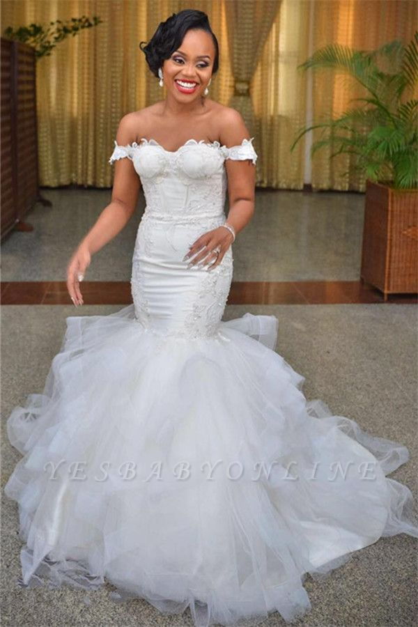 Lace-up Modest Short-Sleeve Tulle Off-the-shoulder Mermaid Lace Wedding Dress