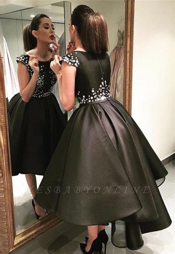 A-Line Zipper Crystal Black Tea-Length Sequined Prom Dresses