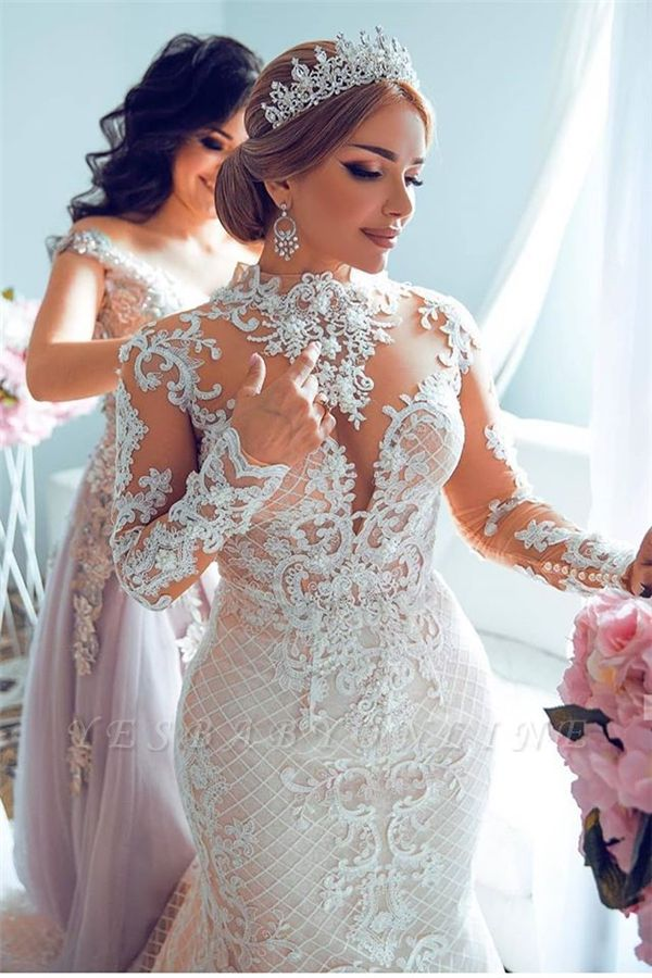 High Neck Sheer Lace Gorgeous Wedding Dresses with Long Sleeves