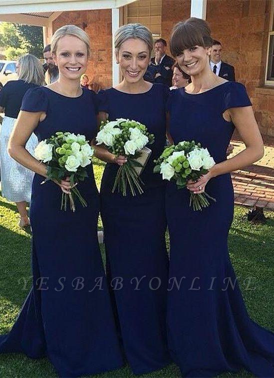 Jewel Mermaid Elegant Dark-Navy Sweep-Train Short-Sleeve Bridesmaid Dress