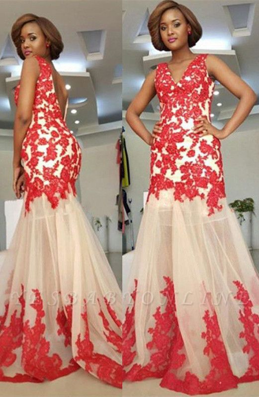 Modest Sleeveless Mermaid Straps Lace-Appliques Backless Prom Dress