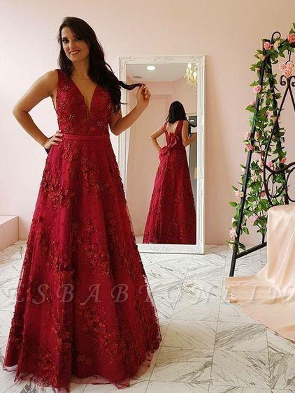 Burgundy lace long prom popular dresses prom dresses