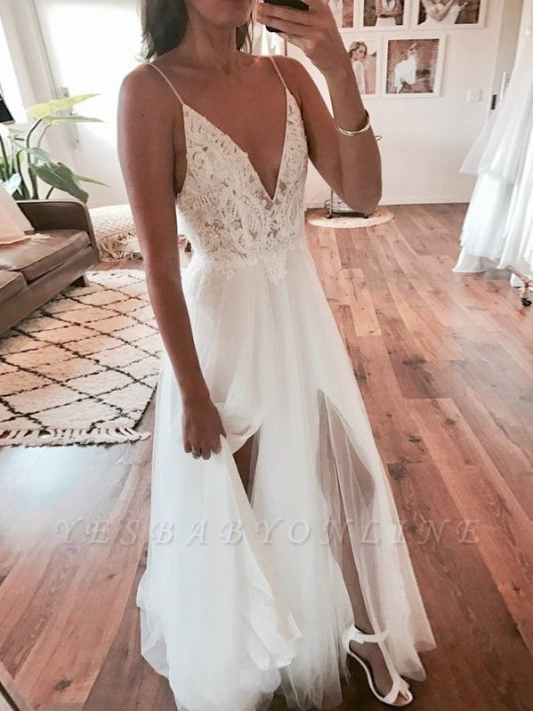 Sexy A-Line V-Neck Wedding Dresses | Tulle Spaghetti-Strap Slit Bridal Gowns