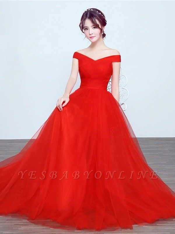 Elegant A-Line Ruched Bridesmaid Dresse | Off-The-Shoulder Tulle Wedding Party Dresses
