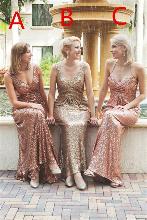 Simple Sequins Mermaid Bridesmaid Dresses V-Neck Shiny Wedding Guest Dresses