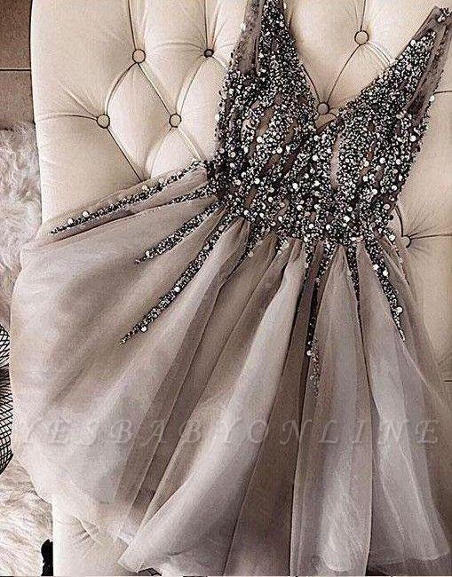 A-Line Shiny Beading Homecoming Dresses | V-Neck Sleeveless Cocktail Dresses