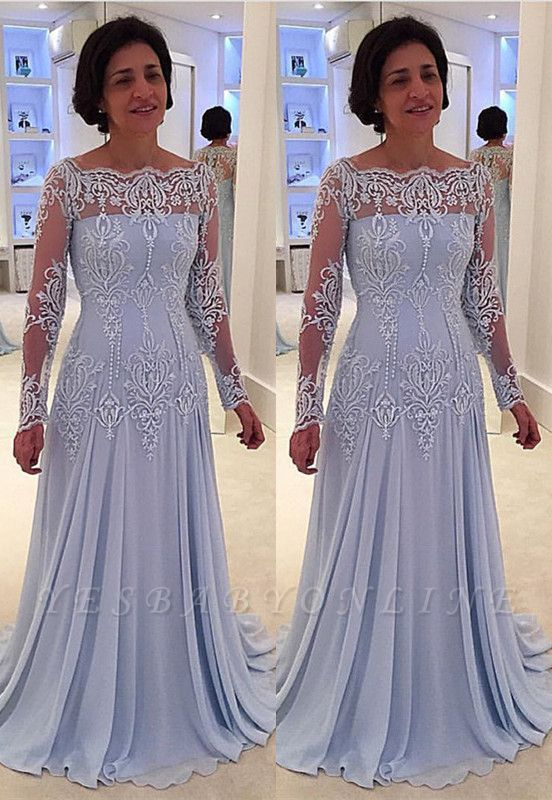 A-line Long-Sleeve Lace Elegant Mother-the-bride Dress