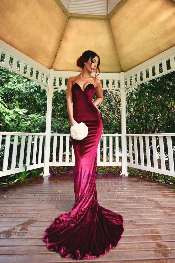 Sexy Burgundy Mermaid Prom dresses Velvet Simple Formal Dresses