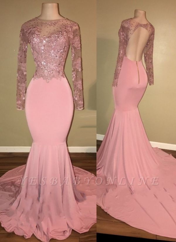 Mermaid Shiny Backless Beaded Long-Sleeves Pink Prom Dresses