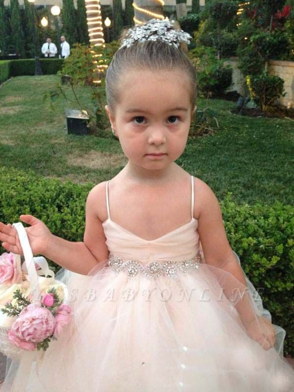 Lovely Spaghetti Strap Tulle Princess Flower Girl Dress with Bowknot