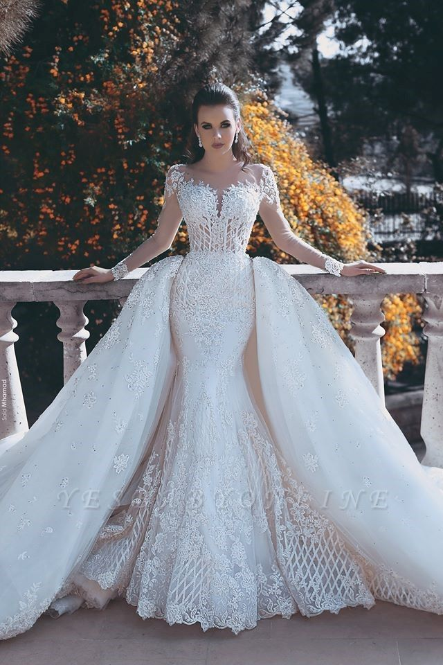 Glamorous Lace Mermaid Wedding Dresses   Long Sleeves Overskirts Bridal Gowns