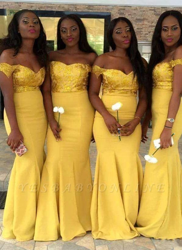 Elegant Off-the-Shoulder Wedding Party Dresses | Mermaid Yellow Bridesmaid Dresses