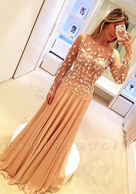 Appliques Long-Sleeve Glamorous Long Prom Dresses