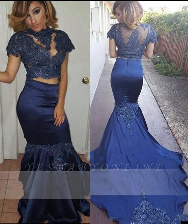 Short Sleeves Appliques Prom Dresses | Mermaid Two Pieces Evening Gowns