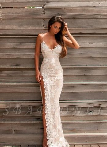 Sweetheart Side-Slit Spaghettis Lace Sheath Straps Evening Gowns BA3397