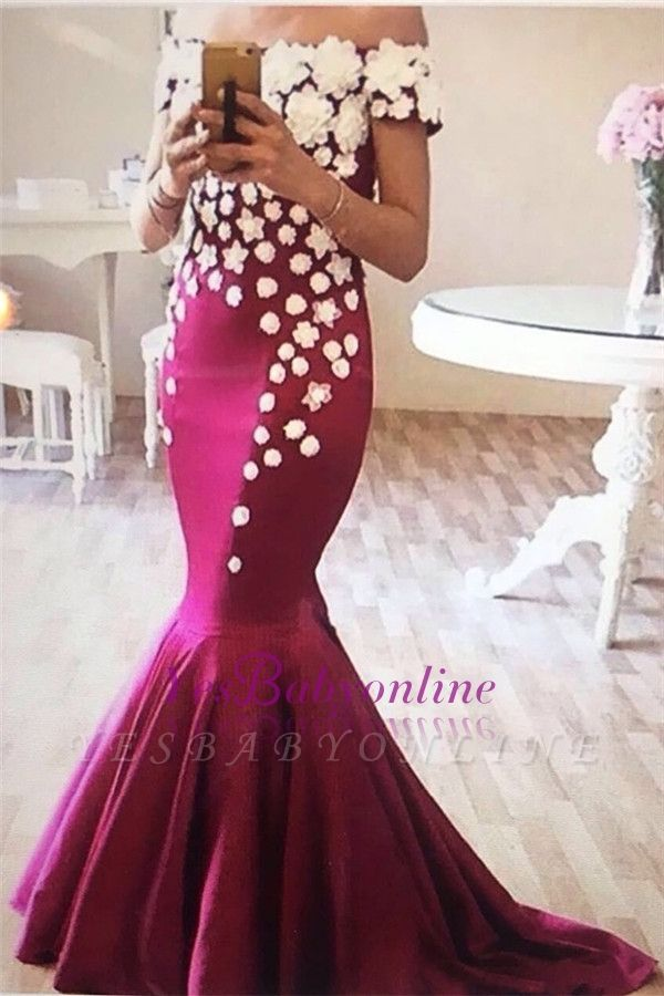 Off-The-Shoulder Elegant Appliques Flowers Mermaid Evening Dress