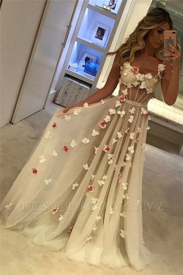 A-Line Flower Sleeveless Prom Dresses | Chic Spaghettis-Straps Evening Dresses
