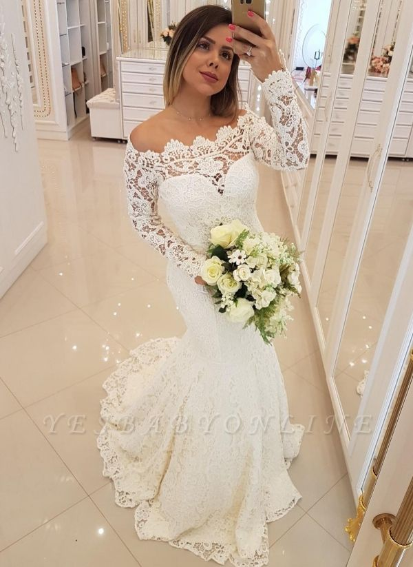 Glamorous Mermaid Lace Wedding Dresses | Off-the-Shoulder Long Sleeves Bridal Gowns