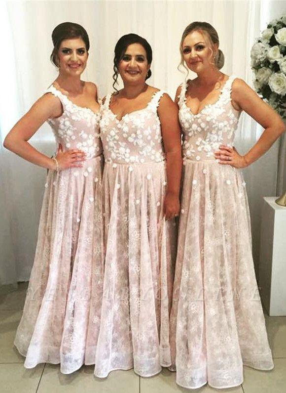 Gorgeous Straps Lace Long Bridesmaid Dresses | Elegant Wedding Guest Dresses