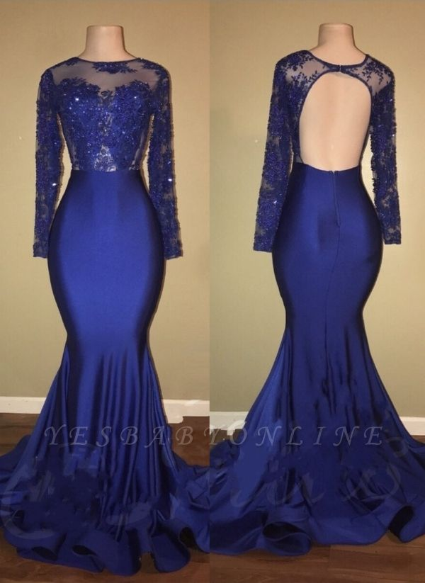 Beaded Long-Sleeves Ruffles-Skirt Royal-Blue Mermaid Prom Dresses