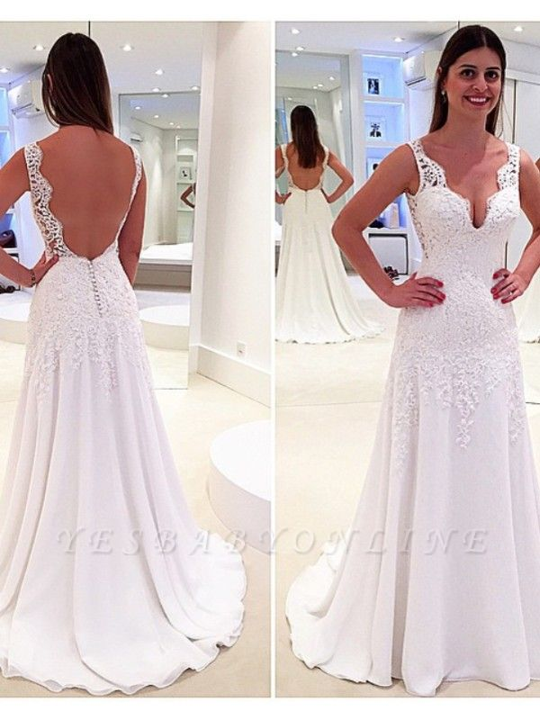 Glamorous A-Line V-Neck Wedding Dresses | Backless Lace-Appliques Bridal Gowns
