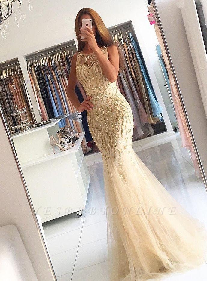 Mermaid Newest Zipper Beads Sleeveless Prom Dress
