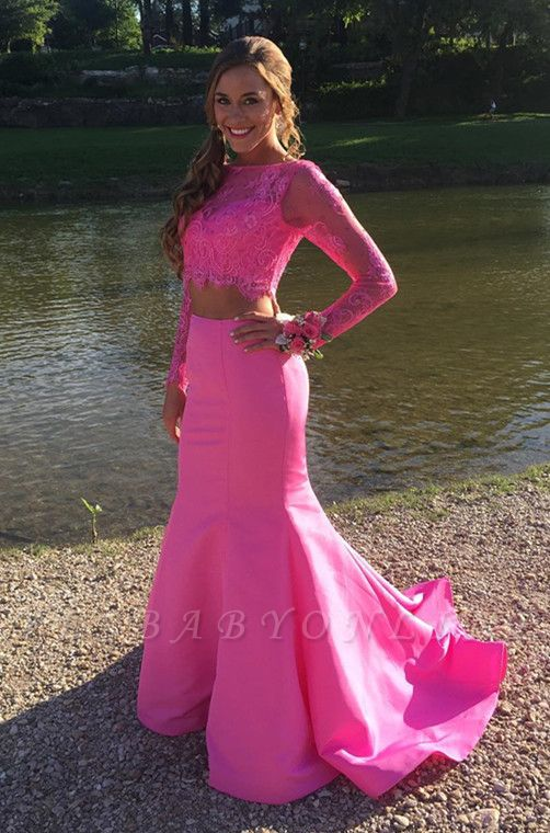 Two-Piece Mermaid Cute Long-sleeve Lace Prom Dress