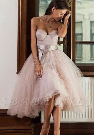 Tulle A-line Ankle-length Sweetheart Sashes Bridemaid Dress