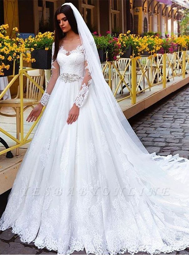 Long Sleeves Crystal Glamorous Lace Princess Wedding Dresses