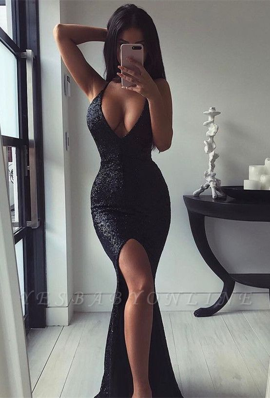 Sleeveless Slit Sequins Mermaid V-Neck Sexy Black Prom Dress