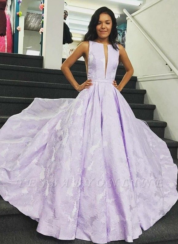 Stunning Sweep Train V-neck Lilac Open Back Prom Dresses | Graceful Evening Gown