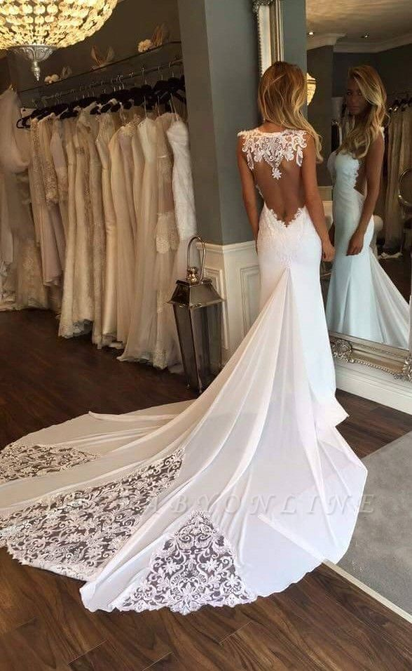 Glamorous Lace Appliques Backless Sleeveless Mermaid Wedding Dresses